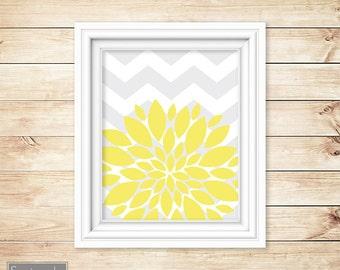 Yellow Flower Burst Wall Art Gray Chevron Bathroom Bedroom Livingroom Nursery Decor Printable 8x10 Digital JPG Instant Download (45-2)