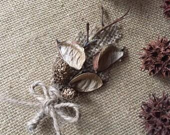 Boutonnière/ cotton pod boutonnière/ wedding boutonnière/ twig boutonnière/ burlap boutonnière/ rustic wedding/ rustic boutonnière/ woodland