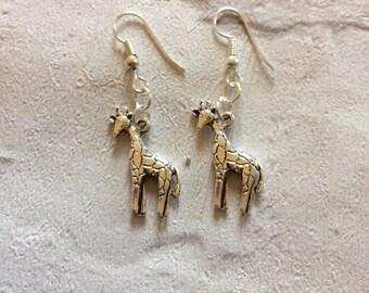 Giraffe Earrings, Silver Giraffe Earrings, Silver Earrings, Sterling Silver , Giraffe Jewellery,  Silver Drop  Earrings, Safari Earrings.