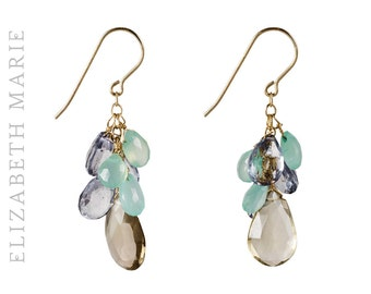 Chalcedony and Quartz Cluster Earrings on 14K Gold Filled French Earwire