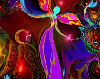 "Reiki Angel Art, Red Chakra Print, Energy Art ""Grounding"""
