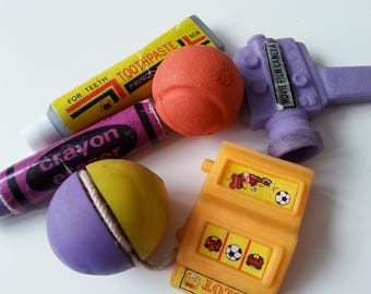 Vintage, 6, gadgets, purple, yellow, crayon, yoyo, camera, ball, 1980s, eraser, rubbers, gommi,  scented, by NewellsJewels on etsy