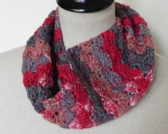 Cozy Crochet cowl in a colorful multi-color super soft yarn, infinity scarf is ready to ship, crochet scarf #525