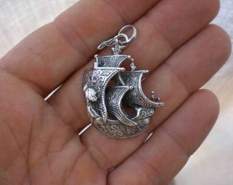 Pirate Ship Galleon Silver Pendant Necklace