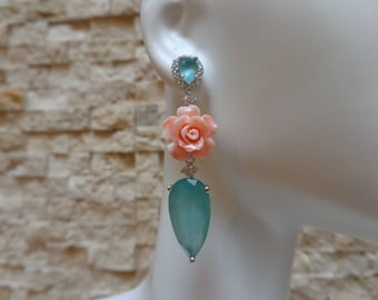 Hand Carved Coral, Blue Jade and Sterling Silver earrings with CZ