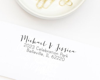 Return Address Stamp, Custom Address Stamp, Wedding Stamp, Self-Inking Stamp, Personalized Address Stamp, Calligraphy Stamp Style No. 21