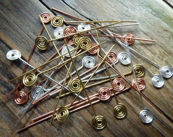 Spiral headpins, 15 pairs in silver plated, brass and copper 20 ga wire, hand crafted jewelry findings, variety pack, you choose length.