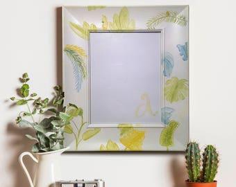 Tropical photo frame, hand painted, Rectangular, palm trees, palms, photo frame