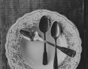 Fine Art Print, Table Setting Photo, Silverware Photo, Farm Table Print, Bowl, Spoons, Black and White, Rustic Art, Cafe Art, Kitchen Art