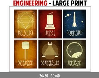 Engineer Gift - Engineering Poster - Teacher Gift  - Educational Poster - Science Art Print - Geek Chic Gift - Steampunk Science Art Print