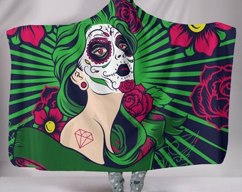 Sugar Skull Girl Design Hooded Blanket