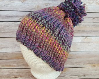 Women's Winter Hat, Colorful Wool Beanie Hat, Pink Purple Female Hat, Colorful Knit Hat, Women's Beanie Hat, Pom Pom Hat