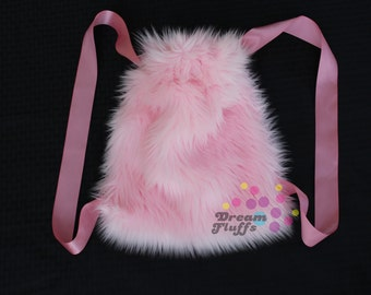 Light Pink Furry Drawstring Backpack | Fluffy Rave Bag | Gifts Under 30 | Gifts for Her | Gifts for Him | Gifts for Kids