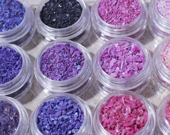 Frit Mini Sample Set - Pinks and Purples - Glass Frit CoE 92-96 (suitable for use on glass COE 90 to CoE 104)