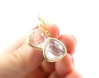 Matt Gold Framed Facet Clear Glass Drop Earrings - Bridesmaids Gift Idea - Simple Everyday Jewelry - Wedding Jewelry - Bridal Earrings