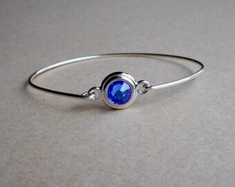 Sterling Silver Bangle With Side Clasp, Sapphire Blue Swarovski Crystal, Birthstone Jewelry,Handmade Bracelet USA
