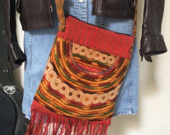Vintage Colorful Woven Purse with Ikat Strap & Fringe Afropunk