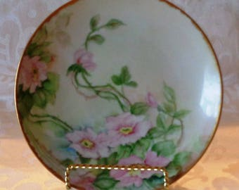 Vintage Royal Austria O & E G Pink Rose China Plate with Gold Trim