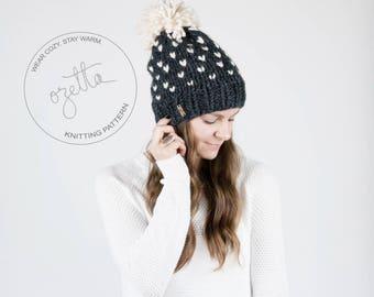 Knitting Pattern / Fair Isle Knit Hat With Pom Pom / THE ALPINE Hat / PDF