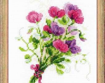 Bouquet with Sweet Peas - Cross Stitch Kit from RIOLIS Ref. no.:1606