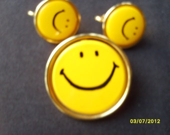 Smiley Face Pin and Earrings, Happy Face, Smiley Face,  Yellow Accessories, Costume Jewelry Funky Jewelry