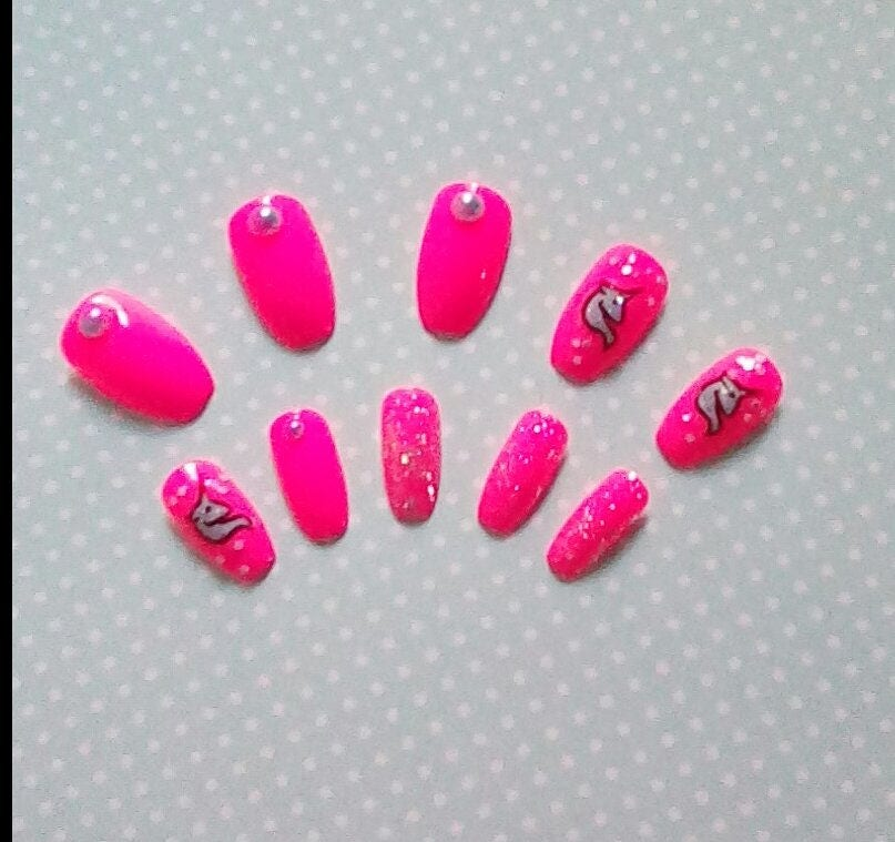 Neon Pink Unicorn Gel Nails from GinandTonicNails on Etsy Studio