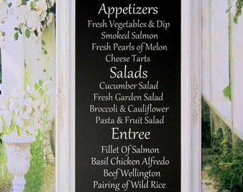 "CHALKBOARD WITH STAND Wedding - Attached Stand Easel - X-Large Standing Chalkboard- 56""x32"" White Framed Wedding Decor Menu Display Board"