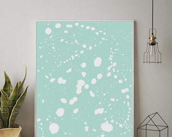 Teal Print, Abstract Art, Pastel Wall Art, Abstract Painting, Digital Download,Abstract Art Print, Paint Drops, Teal Paint Print,