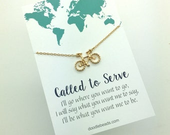 Missionary Necklace - Sister Missionary Gold or Silver Bike Necklace - Called to Serve Bicycle Charm Necklace, missionary accessories gift