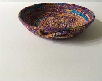 Small Batik Coiled Rope Bowl, Fabric Bowl, Catchall Basket, Organizer Basket, Quiltsy Handmade
