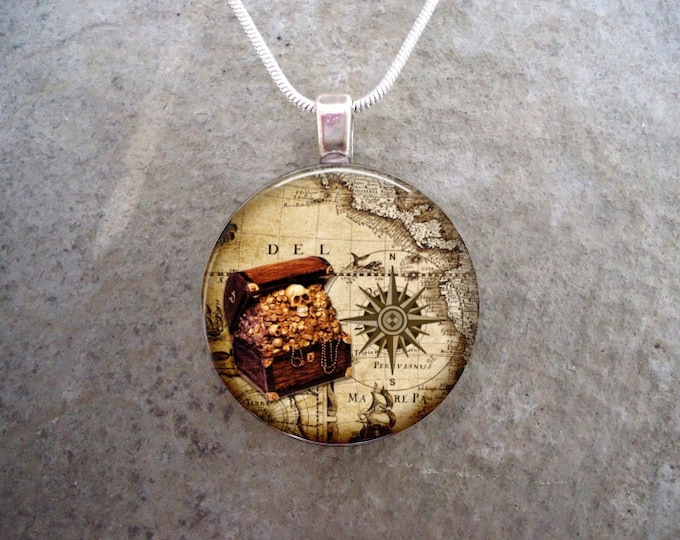 Pirate 10 - Treasure Chest and Compass Rose Jewelry - Glass Pendant Necklace