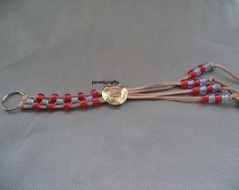KeyChain for Women , Braided Key Chain , Back Pack charm , Purse charm , Braided Leather key chain , Leather Key Chain , Key Charm