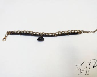 CLEARANCE black Bracelet, links, and Pearl