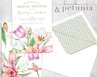 Spring Tulips Bridal Shower Invitation, Spring Bridal Shower Invite, Bridal Shower Invite, Envelope Liner