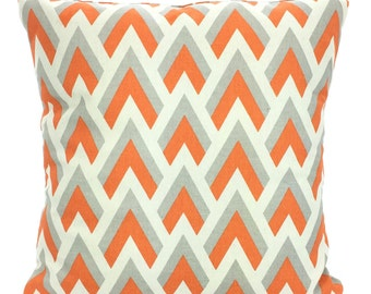 Orange  Gray Pillow Cover, Decorative Throw Pillow, Cushion, Orange, Grey Zapp Sofa Bed Couch Pillow, Throw Pillow, One or More ALL SIZES
