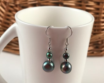 Sterling silver hook earrings, fresh water pearl earrings, gift for her, free shipping