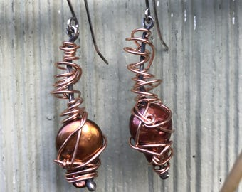Earrings, Fresh Water Pearl, Sterling Silver, Rose Gold Fill, One Of A Kind