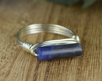 Sleek Sodalite Ring - Sterling Silver, Yellow or Rose Gold Filled Wire Wrapped Gemstone Stackable Ring - Any Size 4 5 6 7 8 9 10 11 12 13 14