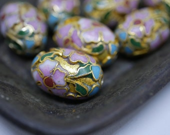 Chinese Cloisonne Beads 18x13mm Oval Pink and Gold Cloisonne Bead Enamel Beads Metal Beads (2 beads) CL31