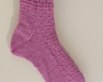 Wide Fitting Handknitted Socks in Pink