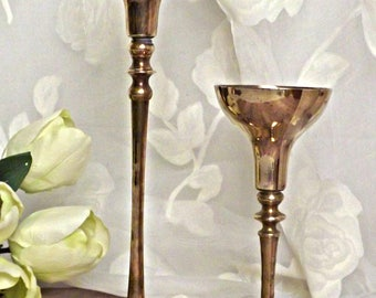 Brass Candle Holders, Retro Chic, Taper Candle Holders, Candlestick Holders, Rustic Cottage Decor, Set of Two
