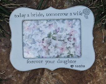 Thank you Gift for mom Mother mommy dad Parent Daughter wedding personalized picture frame mother bride Rustic custom photo frame gift decor