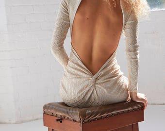 Morena - Long Sleeve Backless Stone Lace Dress