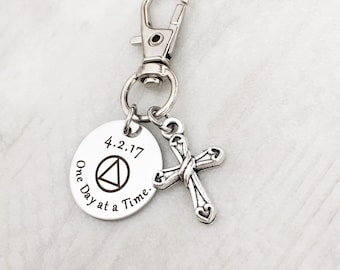Sobriety Gift - Recovery Gift - Addiction Recovery - Sobriety Anniversary - One Day At A Time Keychain -