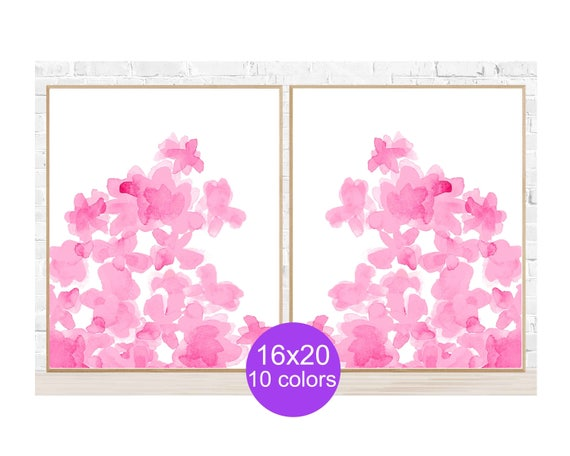 Hot Pink Wall Decor, 16x20 Set of 2  Pink Flower Posters, 10 Colors