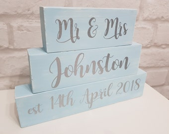 Personalised Mr and Mrs, Mr and Mr, Mrs and Mrs Wedding Day Block