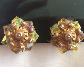 Crystal Clip Vintage Earrings