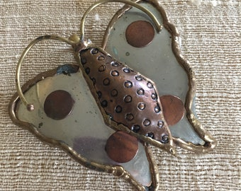 Silver Butterfly Pendant with Copper Trim without Chain