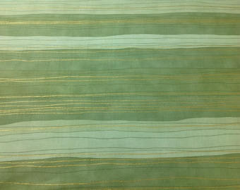 1/2 Yard - Sterling Stripe-Green Pistachio Shiny Objects, Holiday Twinkle, with Metallic Stripe, Cotton Fabric, sold by the 1/2 yd, Quilting