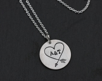 Love Necklace; Necklace with Initials; Arrow Heart; Valentine's Day Gift; Sterling Silver Necklace; For Wife; For Girlfriend